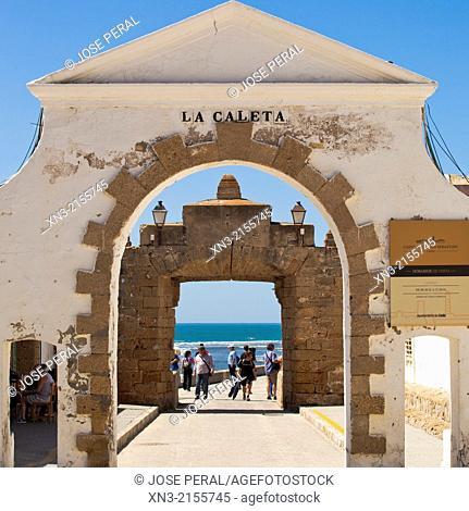 Puerta de la Caleta, entrance to the promenade to the Castle of San Sebastián, Castillo de San Sebastián, Atlantic Ocean, Cádiz City, Costa de la Luz