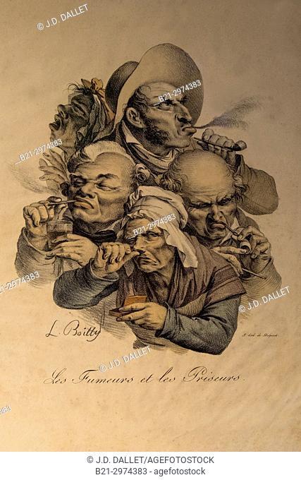 """France, Nouvelle Aquitaine, Dordogne, """"""""Musée du Tabac"""""""" (Tobacco museum) , a Bergerac: """"""""Les fumeurs et les priseurs"""""""", by L. Boilly, 19th Century"""