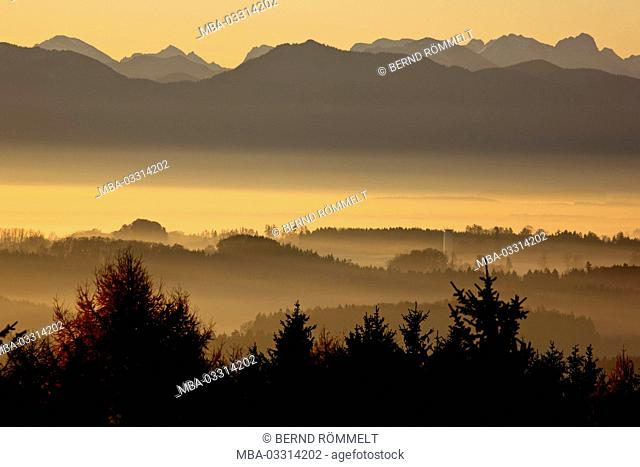 Germany, Bavaria, Upper Bavaria, Fünfseenland (region) (region), Ilkahöhe, foothills of the Alps, Rabenkopf, Bavarian Alpine foothills, Karwendel