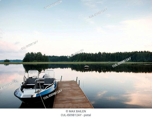 View of pier and lake mid summer, Orivesi, Finland