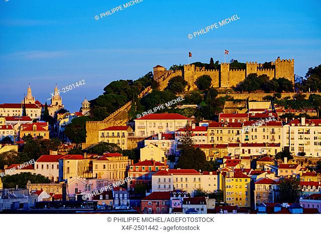Portugal, Lisbon, city and Castelo Sao Jorge or Saint Georges Castle