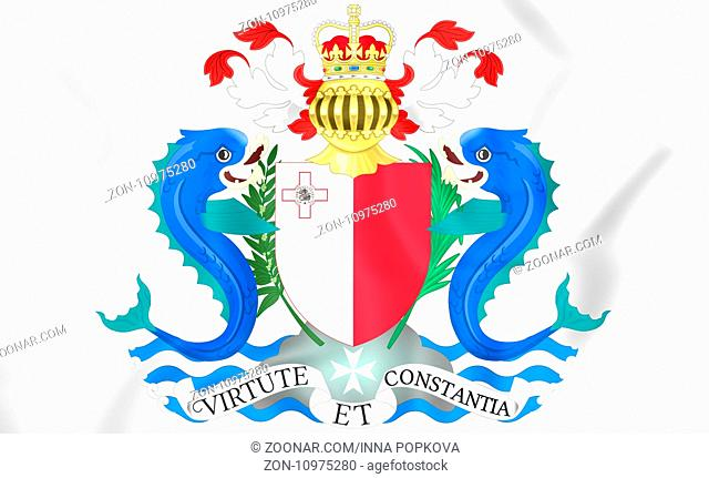 Governor-General of Malta coat of arms. 3D Illustration