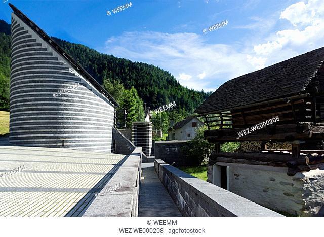 Switzerland, Ticino, Mogno, view to church of San Giovanni Battista