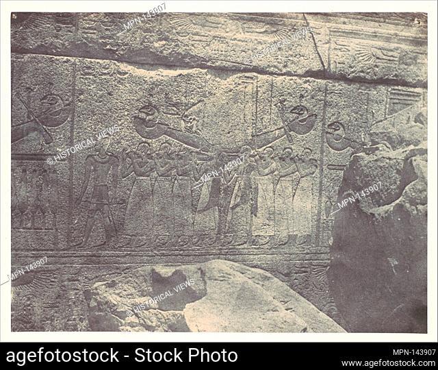 Thebes. Palais de Karnak. Sculptures extérieures du Sanctuaire de granit. Artist: Maxime Du Camp (French, 1822-1894); Printer: Imprimerie photographique de...