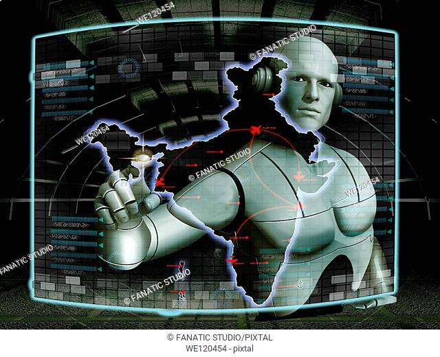 Robot touching major destination points on the map of India on a virtual screen