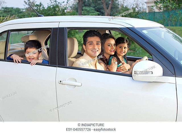 Portrait of family in car
