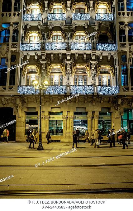 Coso avenide with tram by Night, Saragossa, Spain