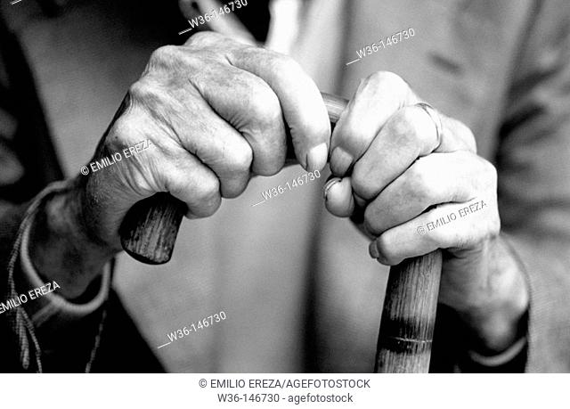 Hand of old man with walking stick