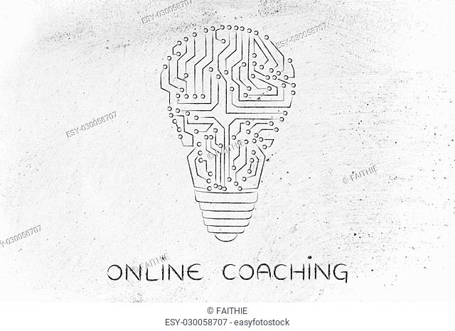 online coaching: electronic circuits creating the shape of a lightbulb