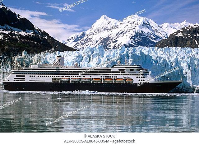 Holland America cruiseship *Zaandam* in front of Margerie Glacier Glacier Bay National Park SE Alaska