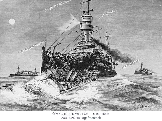 Shipwreck of the Framée destroyer on August 11, 1900 during after a collision during naval maneuvers along the Porutgal Coast