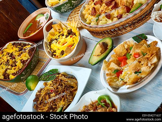 Tex-Mex cuisine, Traditional assorted dishes, Top view
