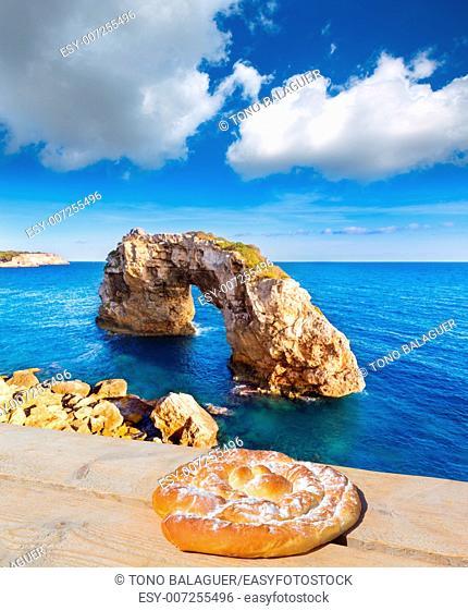 Majorca Es Pontas in Santanyi at Mallorca photo mount with ensaimada and deck