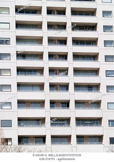 Facades of Japanese buildings in Tokyo, Japan