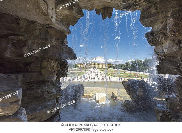 Vienna, Austria, Europe. The The Neptune Fountain in the gardens of Schönbrunn Palace