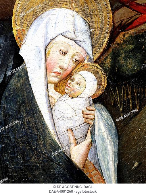 Mary and Child, detail from Flight into Egypt, altarpiece from Verdu, 1432-34, by Jaume Ferrer II known as The Younger (active between 1430 and 1460-1470)