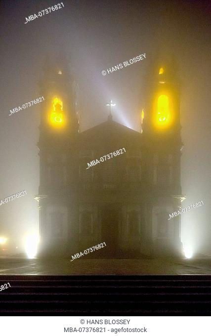Bom Jesus do Monte, Sanctuary of Braga in the evening fog, Braga, Braga district, Portugal, Europe