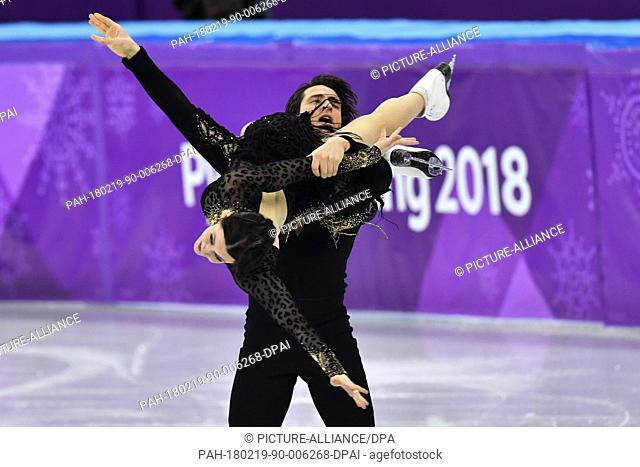 19 February 2018, South Korea, Gangneung: Olympics, Figure Skating, Ice Dance Short Dance, Gangneung Ice Arena: Tessa Virtue and Scott Muir from Canada in...