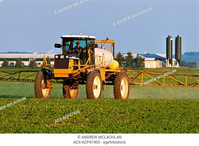 Crop sprayer sparaying soybean field near Thornton, Ontario, Canada