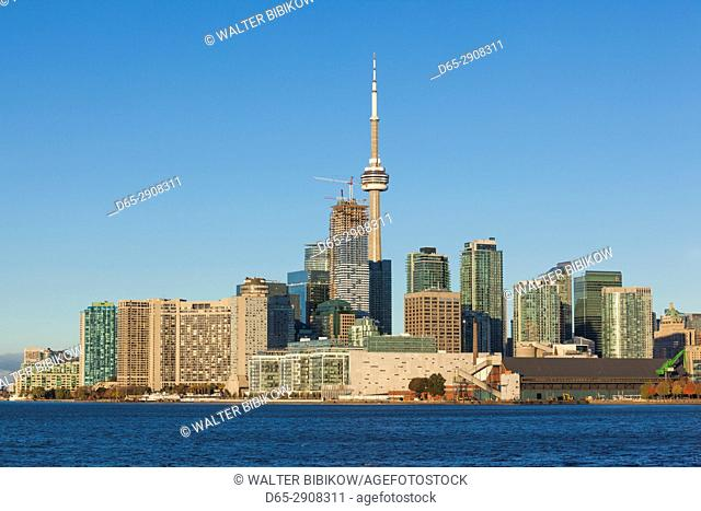 Canada, Ontario, Toronto, skyline from Polson Pier, morning