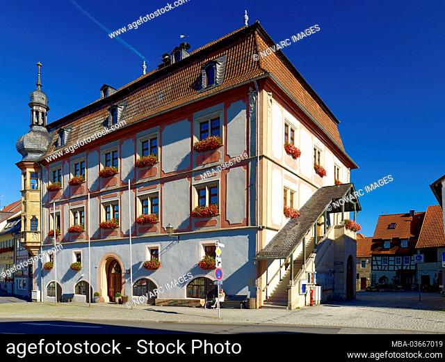 "Town hall at the market square in Bad K""nigshofen, Rh""n-Grabfeld, Lower Franconia, Bavaria, Germany"