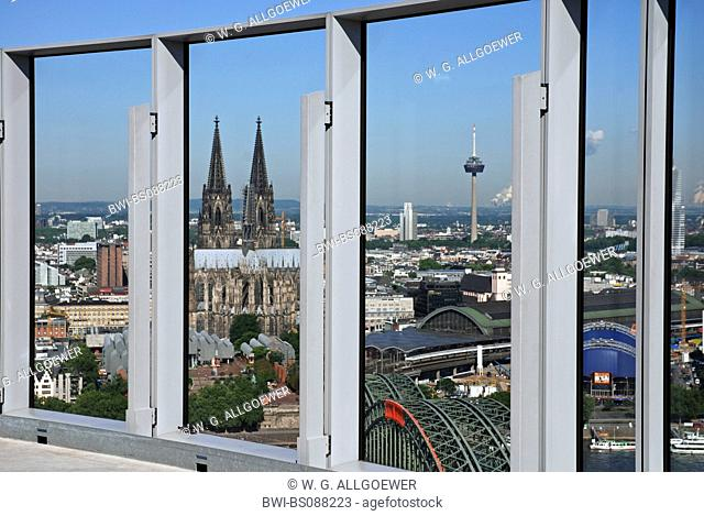 view from LVR tower on the old part of town and Cologne cathedral, Hohenzollern bridge, Museum Ludwig and main station, Germany, North Rhine-Westphalia, Cologne