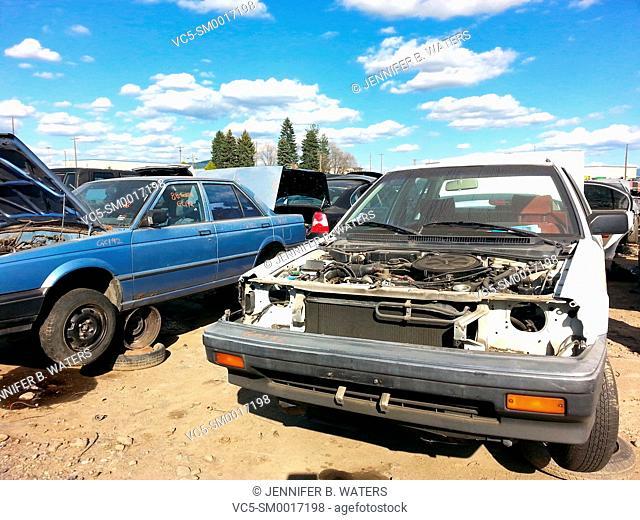 Damaged vehicles at the scrap yard
