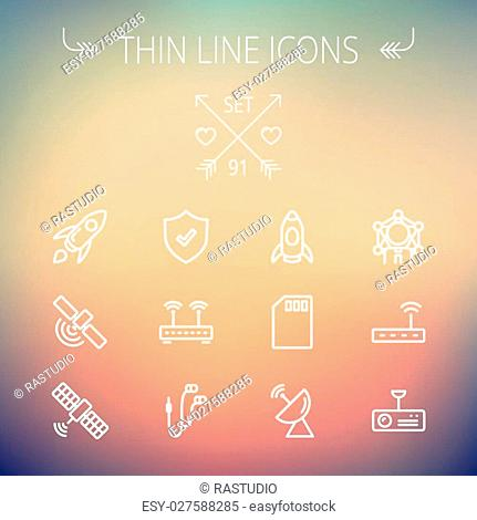 Technology thin line icon set for web and mobile. Set includes -start up, satellite, shield, router, wifi, earphone, memory card, radar