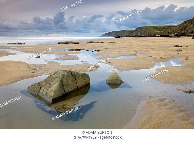 Rockpools on Sandymouth Beach in Cornwall, England, United Kingdom, Europe