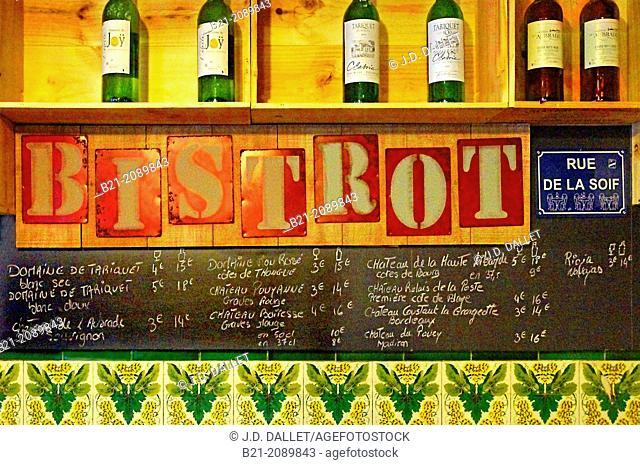 Wines and foods: wine liste at 'Bistrot du Docteur Grégoire', Bordeaux, Gironde, Aquitaine, France