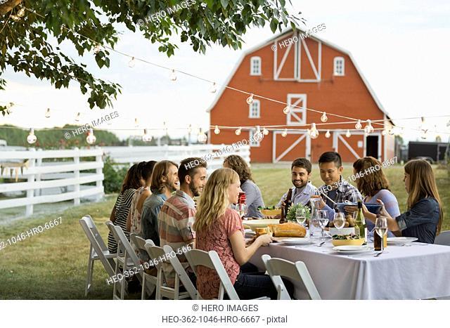 Friends enjoying outdoor dinner party on farm