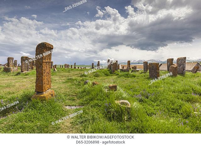 Armenia, Lake Sevan, Noratus, town cemetery, ancient khachkar monuments