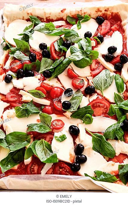 Prepared, uncooked pizza, close-up