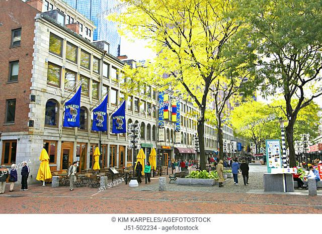 Massachusetts, Boston, South Market building with shops, part of Faneuil Hall Marketplace, shoppers