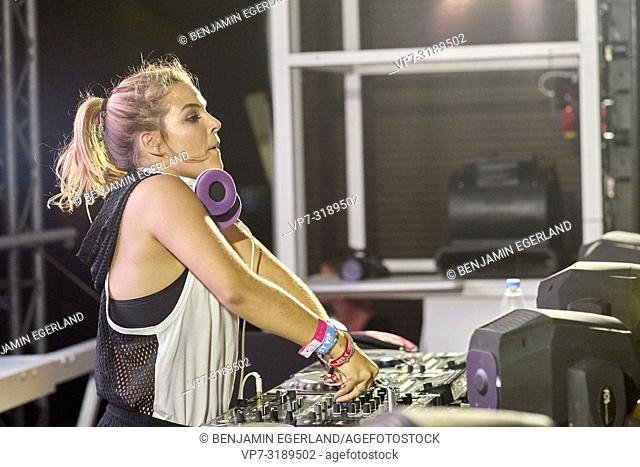 DJ Sophie Francis performing at music festival Starbeach Chersonissos, Crete, Greece, on 09. August 2018