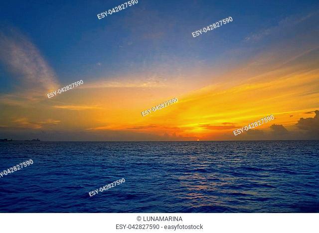 Caribbean sunset on the sea in Riviera Maya