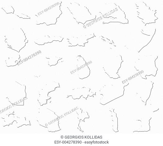 Samoa-Trinidad and Tobago 3D White Maps