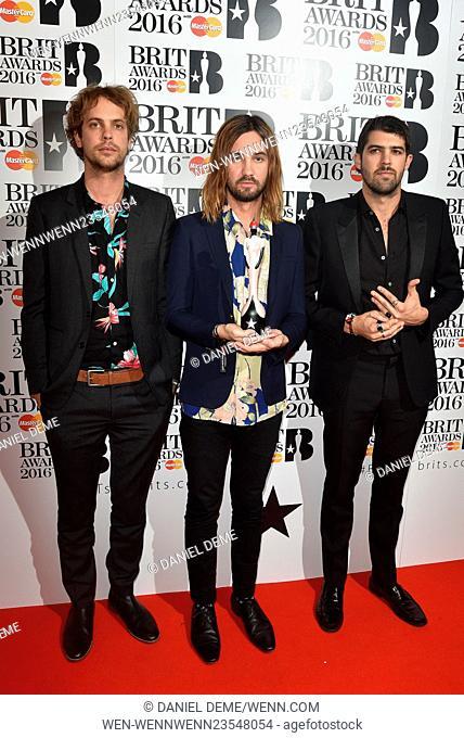 2016 BRIT Awards held at the O2 - Winners boards. Featuring: Tame Impala Where: London, United Kingdom When: 24 Feb 2016 Credit: Daniel Deme/WENN.com