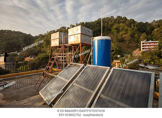 Solar water heating apparatus on a rooftop in Nepal
