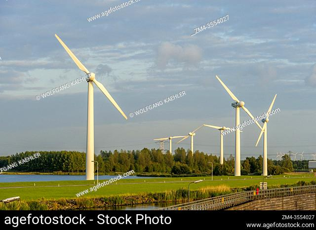 Wind power generators (windmills) near Hoogerheide, a village in North Brabant, Netherlands, near the border to Belgium