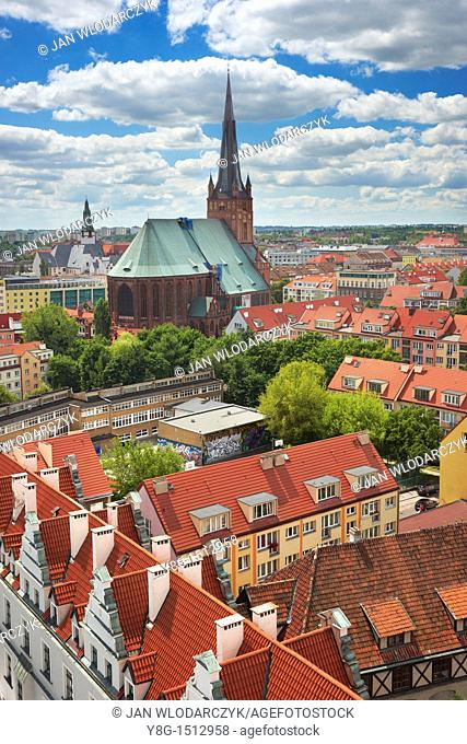View of the town with its Jacob Cathedral from the tower of the castle, Szczecin, West Pomerania, Poland, Europe