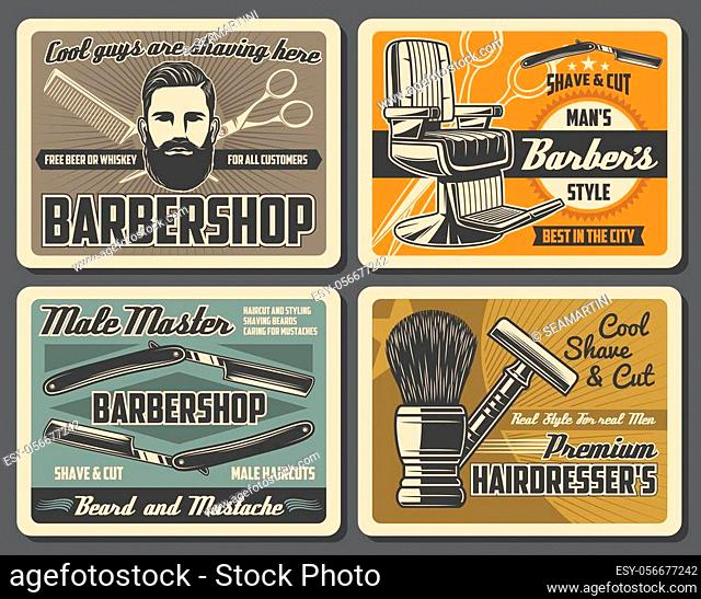 Barbershop retro posters with vector barber shop tools and equipments of hair cut, beard and mustache shave. Barber straight razors, chair and scissors, comb