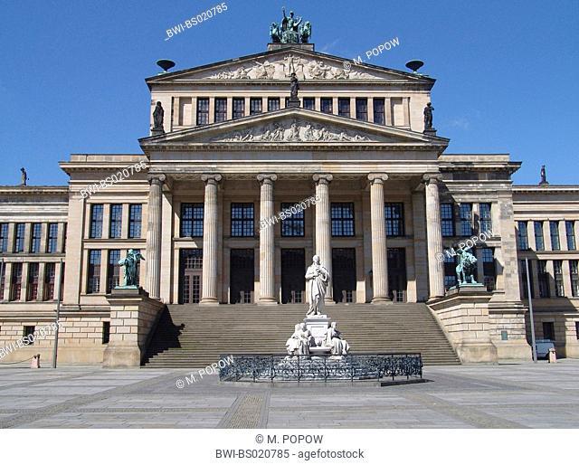theatre Berlin at the Gendarmenmarkt with Schiller monument, Germany, Berlin