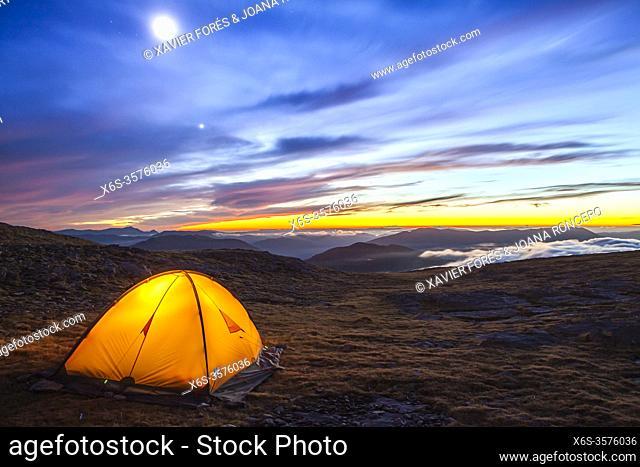 Camping at the National Park of Ordesa and Monte Perdido, Huesca, Spain