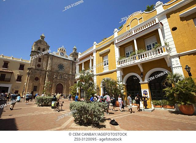 View to the San Pedro Claver Church and colonial buildings at Plaza de San Pedro Claver Square, Cartagena De Indias, Bolivar, Colombia, South America