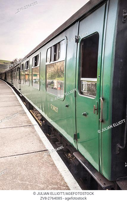 Old railway coaches on the Swanage Railway in Dorset