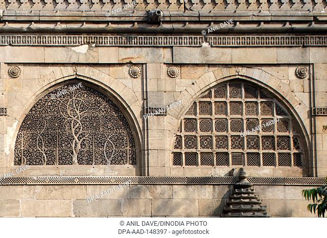 Heritage stone mosque ; Sidi sayyed's mosque built in 1572-73 A.D. ; Ahmedabad ; Gujarat ; India