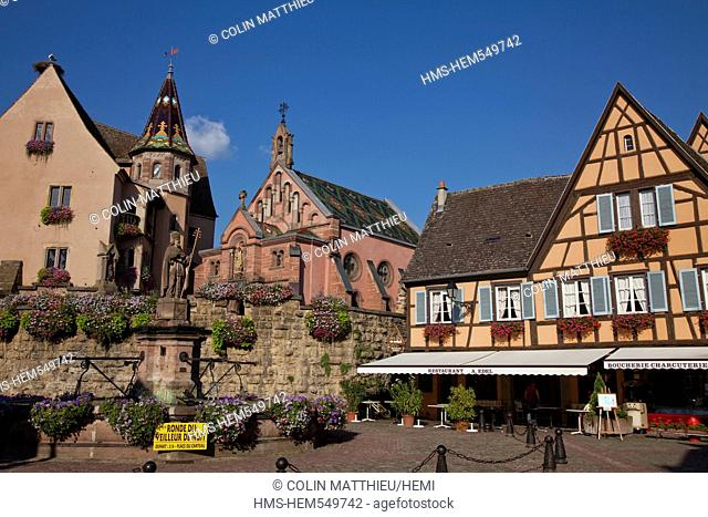 France, Haut Rhin, Eguisheim, labelled The Most Beautiful Villages of France, on the Alsace Wine Route