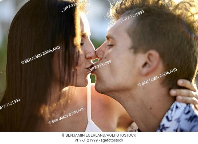 Couple, kissing, love, emotions, relationship. Chersonissos, Crete, Greece