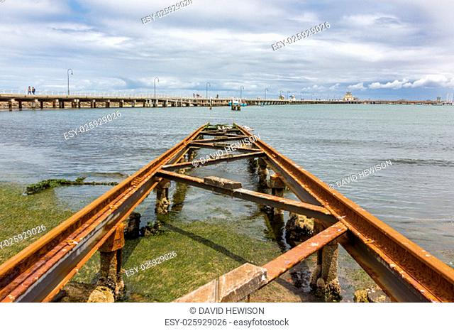 St Kilda Pier with an old boat slipway in the foreground. St Kilda, Australia
